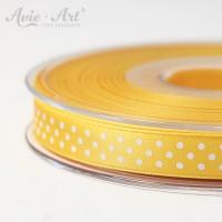 gelbes Satinband 10mm mit weißen Punkten
