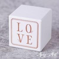 weißer Holzwürfel - LOVE - Gravur