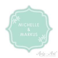 Aufkleber Hochzeit Namen Brautpaar mint