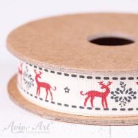 Schönes weihnachtliches Webband mit Hirschmotiven