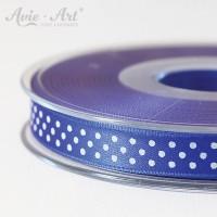 blaues Satinband 10mm mit weißen Punkten