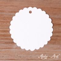 Papieranhänger rund weiß 50 mm mit Wellenrand