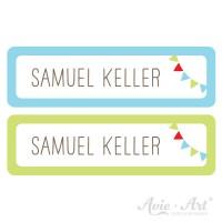 Namensaufkleber für Stifte in 2 Farben - blau und grün