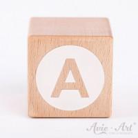 Holzwürfel Buchstaben weiße Farbe A negativ