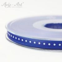 blaues Satinband 6 mm mit weißen Punkten