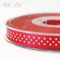 rotes Satinband 10mm mit weißen Punkten