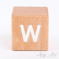 Holzwürfel Buchstaben weiße Farbe W positiv