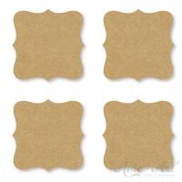 Naturpapier - Aufkleber Label 45 x 45 mm - braun (1 Bogen)