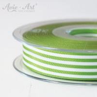 Schöne Satinbänder 16 mm mit Streifen - grün weiß