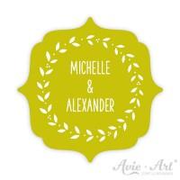 Hochzeitsaufkleber Namen Label - Ranke I