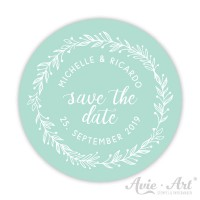 Hochzeitsaufkleber Save the date - Serie Blütenkranz - mint