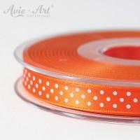 Satinband orange 10mm mit weißen Punkten