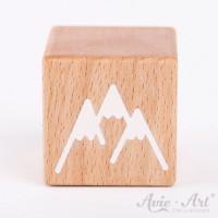 Holzwürfel mit Bergen weiße Farbe handbemalt