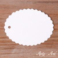 Papieranhänger oval weiß 45 x 60 mm mit Wellenrand