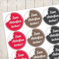 """Motivaufkleber """" Zum Anbeißen lecker! """""""