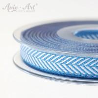 Dekoband mit Fischgräten - Muster blau