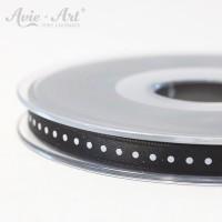 schwarzes Satinband 6 mm mit weißen Punkten