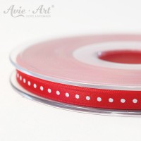 rotes Satinband 6 mm mit weißen Punkten
