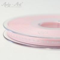 rosafarbenes Satinband 6 mm mit weißen Punkten