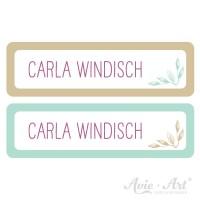 Namensaufkleber für Stifte in 2 Farben - beige und mint