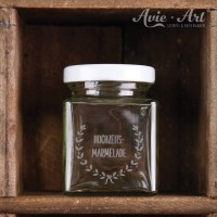 Marmeladenglas, graviert mit Deckel, eckig - 100 ml