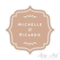 Hochzeitsaufkleber Namen Label - Wellen I