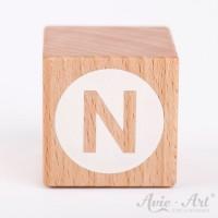 Holzwürfel Buchstaben weiße Farbe N negativ