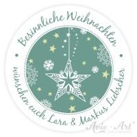 personalisierte Aufkleber Weihnachten Sternenmuster