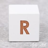weißer Buchstabenwürfel - Buchstabe R