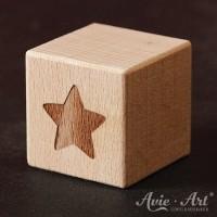 Holzwürfel Motiv Stern graviert