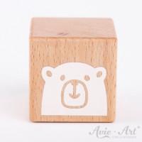 Holzwürfel mit Bärenmotiv, Bär, bear, Teddy weiße Farbe handbemalt