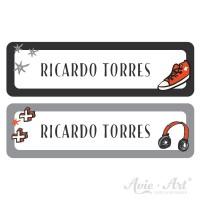 Namensaufkleber für Stifte in 2 Farben - schwarz und grau