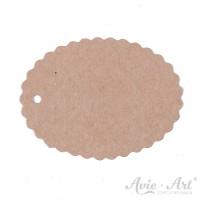 Papieranhänger oval braun 45 x 60 mm mit Wellenrand