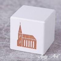 weißer Holzwürfel - Kirche - Gravur