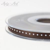 braunes Satinband 6 mm mit weißen Punkten