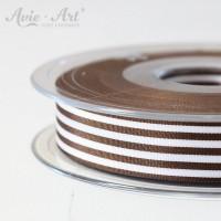 Schöne Satinbänder 16 mm mit Streifen - braun weiß