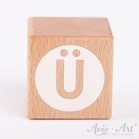 Holzwürfel Buchstaben weiße Farbe Ü negativ
