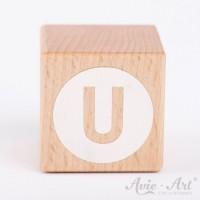 Holzwürfel Buchstaben weiße Farbe U negativ