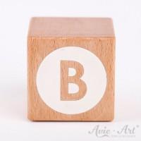 Holzwürfel Buchstaben weiße Farbe B negativ