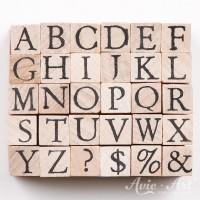 kleine Holzstempel Alphabet - Großbuchstaben