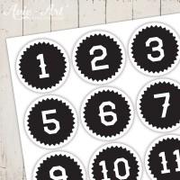 Adventskalender Zahlen Zickzack schwarz