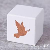 weißer Holzwürfel - Taube - Gravur