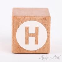 Holzwürfel Buchstaben weiße Farbe H negativ