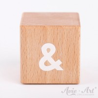 Holzwürfel mit & Zeichen weiße Farbe handbemalt
