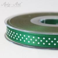 dunkelgrünes Satinband 10mm mit weißen Punkten