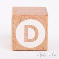 Holzwürfel Buchstaben weiße Farbe D negativ