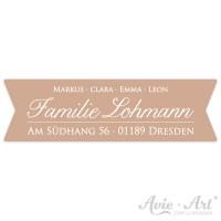 Aufkleber mit Vornamen und Adresse Kalligrafie I