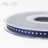 dunkelblaues Satinband 6 mm mit weißen Punkten