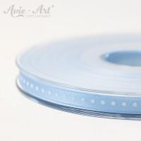 hellblaues Satinband 6 mm mit weißen Punkten