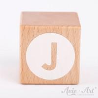 Holzwürfel Buchstaben weiße Farbe J negativ